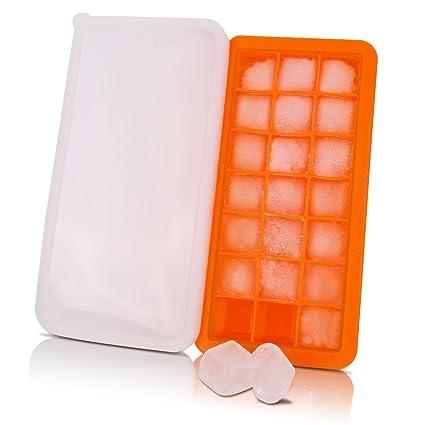 Cubo de hielo bandejas silicona, Premium silicona 21 cubitos de hielo bandeja con tapa,