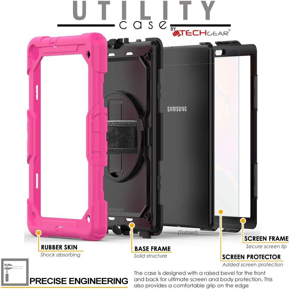 Cinturino a Mano e Tracolla attaccabile TECHGEAR Utility Custodia Compatibile con Nuovo Samsung Galaxy Tab A 10.1 2019 SM-T510//SM-T515 Antiurto Resistente Supporto Integrato Girevole a 360 Gradi