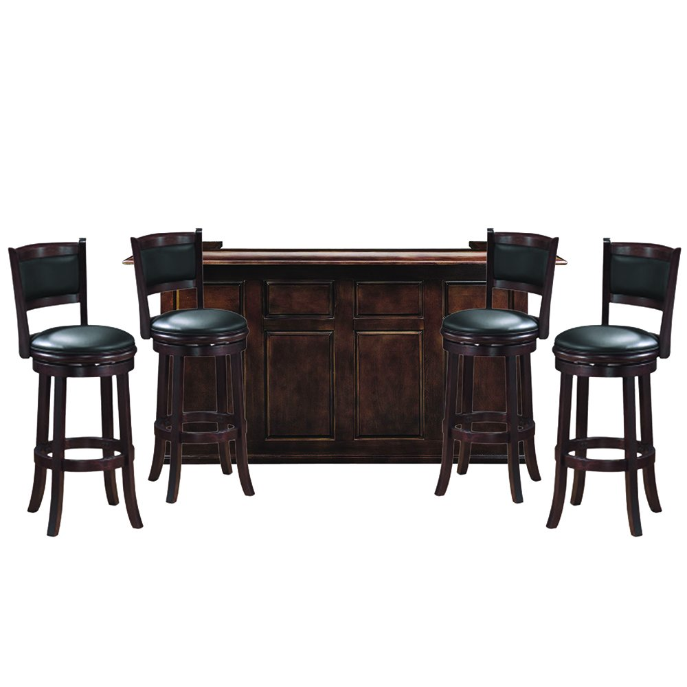 "RAM Gameroom 84"" Cappuccino Home Bar with 4 Matching Bar Stools"