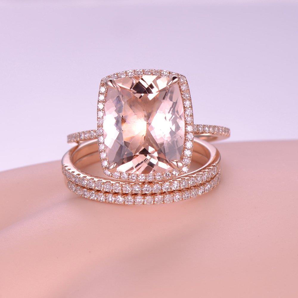 3pcs Morganite Wedding Ring Set,10x12mm Cushion Cut Pink Stone 14k ...