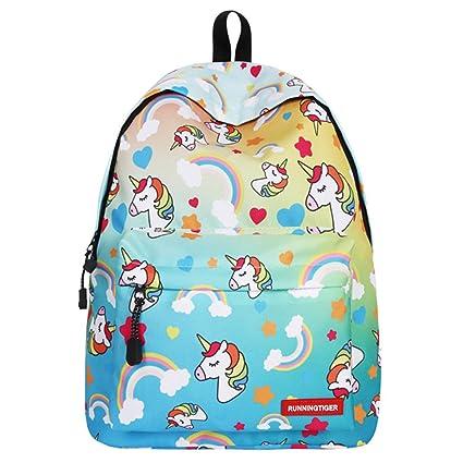 IvyH Mochila Escolar Unicornio,Bolsas de Escuela para Niñas Niños Mochila para Estudiantes de Escuela Mochila de Viaje al Aire Libre para Adultos ...