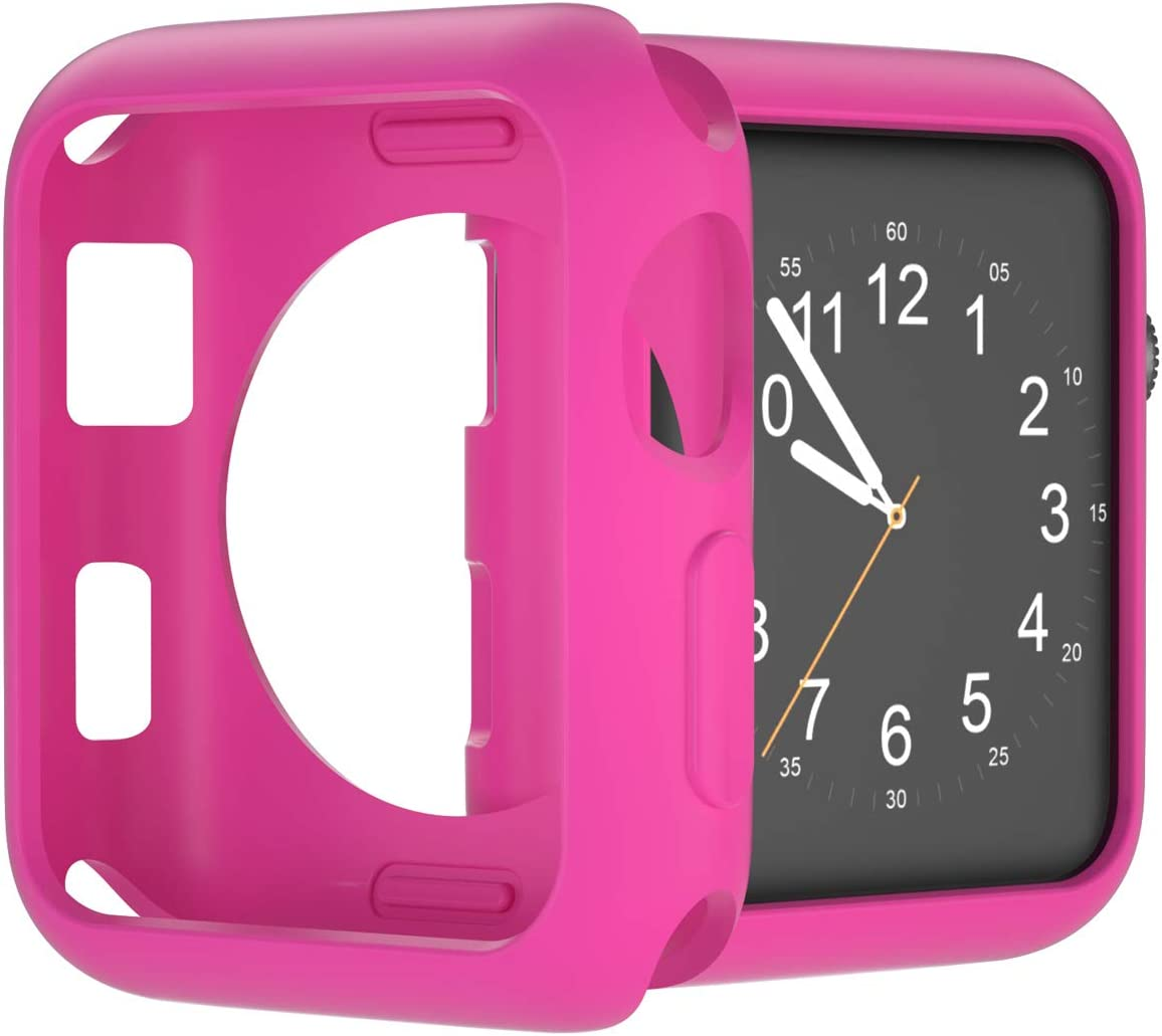 U191U Compatible with Apple Watch Case 38mm 42mm 40mm 44mm, Soft TPU Shockproof and Shatter-Resistant Protective Bumper Cover iwatch Series 5 4 3 2 Case (Barbie Pink, 38mm Series 2/3)
