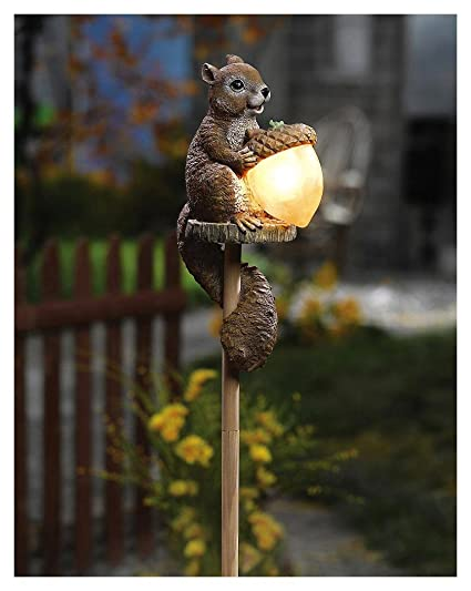 Amazon com : Solar Sammy Squirrel Stake Lamp Lighting