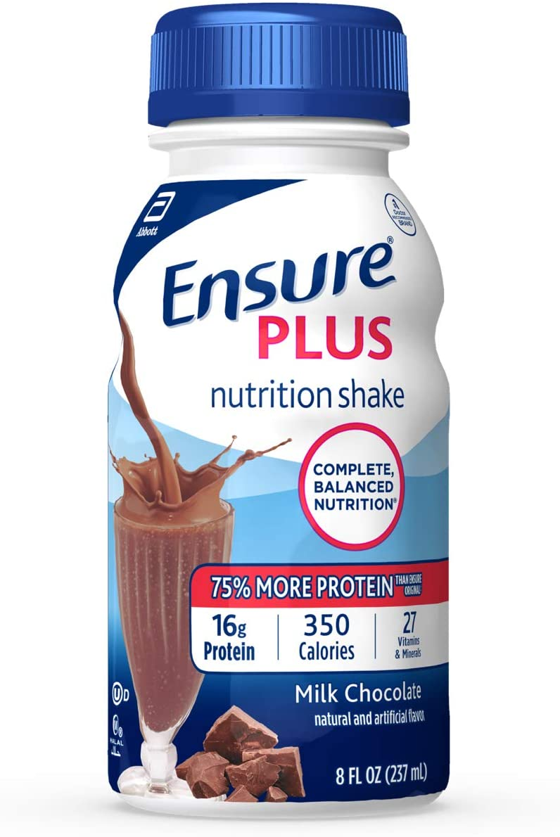 Amazon Com Ensure Plus Complete Balanced Nutrition Drink Ready To Use Milk Chocolate Shake 24 8 Fluid Ounce Bottles Health Personal Care
