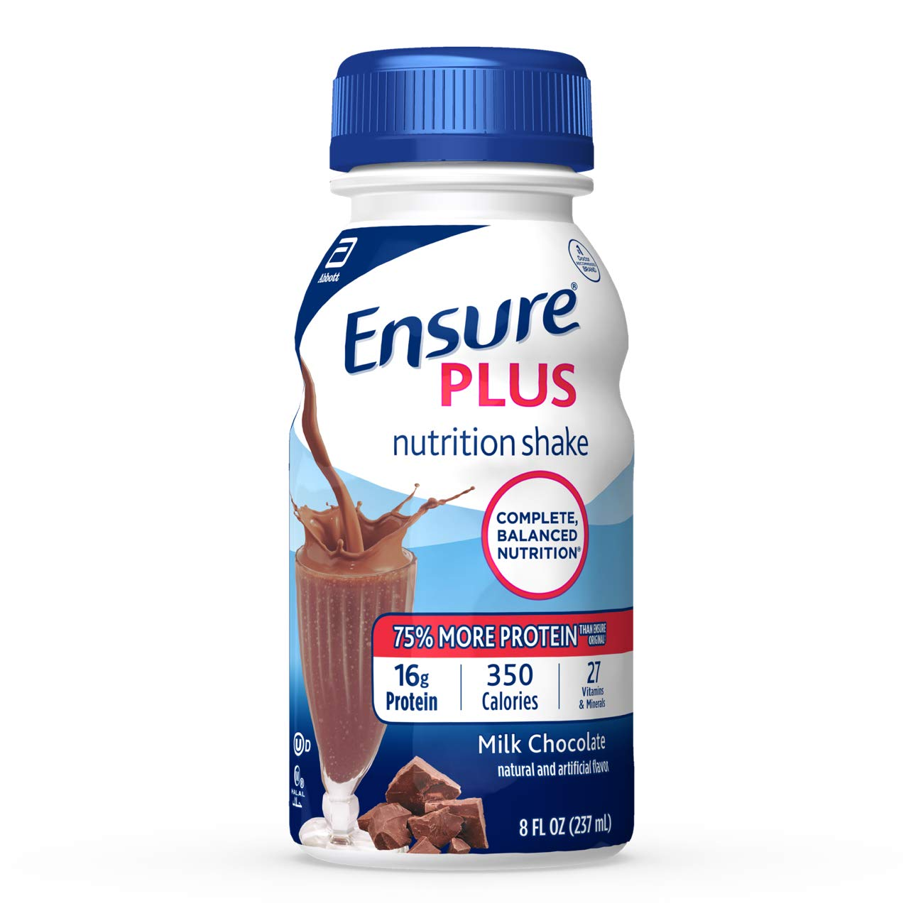 Ensure Plus Nutrition Shake With 16 Grams of High-Quality Protein, Meal Replacement Shakes, Milk Chocolate, 8 fl oz, 24 Count