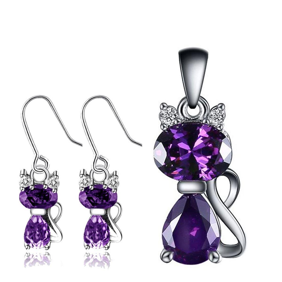 925 Sterling Silver Jewelry Sets Cat Pendant Earrings Set Purple Austria Crystal CZ For Women Female Fashion Bridal Jewelry