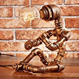 Baycher Vintage Industrial Table Lamp Steampunk Table Light Rustic Water Pipe Style Bedside Desk Lamp For Home, Water Pipe Desk Lamps For Bar Club Bedroom Living Room Hotel coffee shop (Size : C)