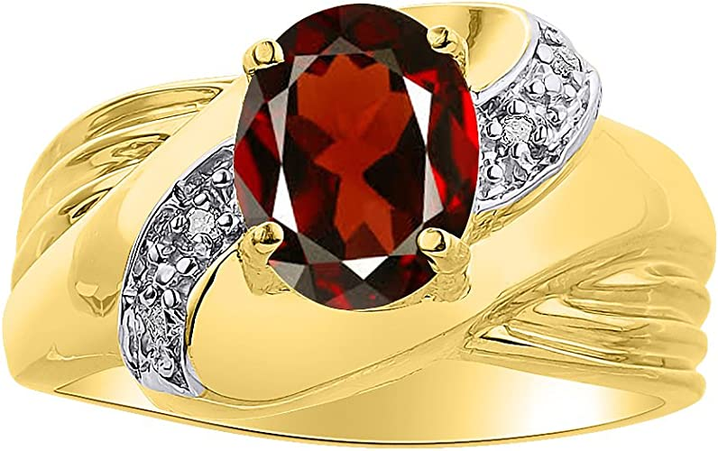 Diamond /& Garnet Ring Sterling Silver or Yellow Gold Plated