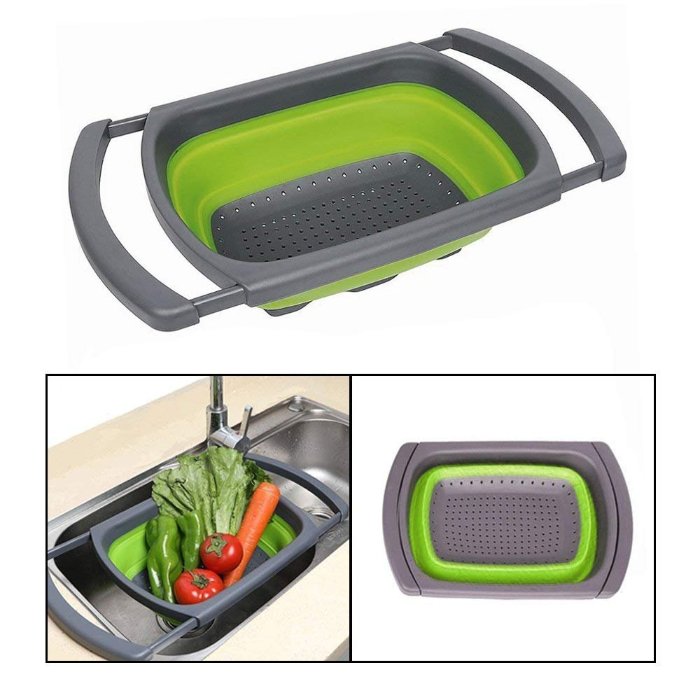 Collapsible Kitchen Colander/Strainer with Extendable Handles, 6-quart Capacity Over the Sink Colander, Folding Strainer for Draining Fruit & Pasta & Vegetable [Green]