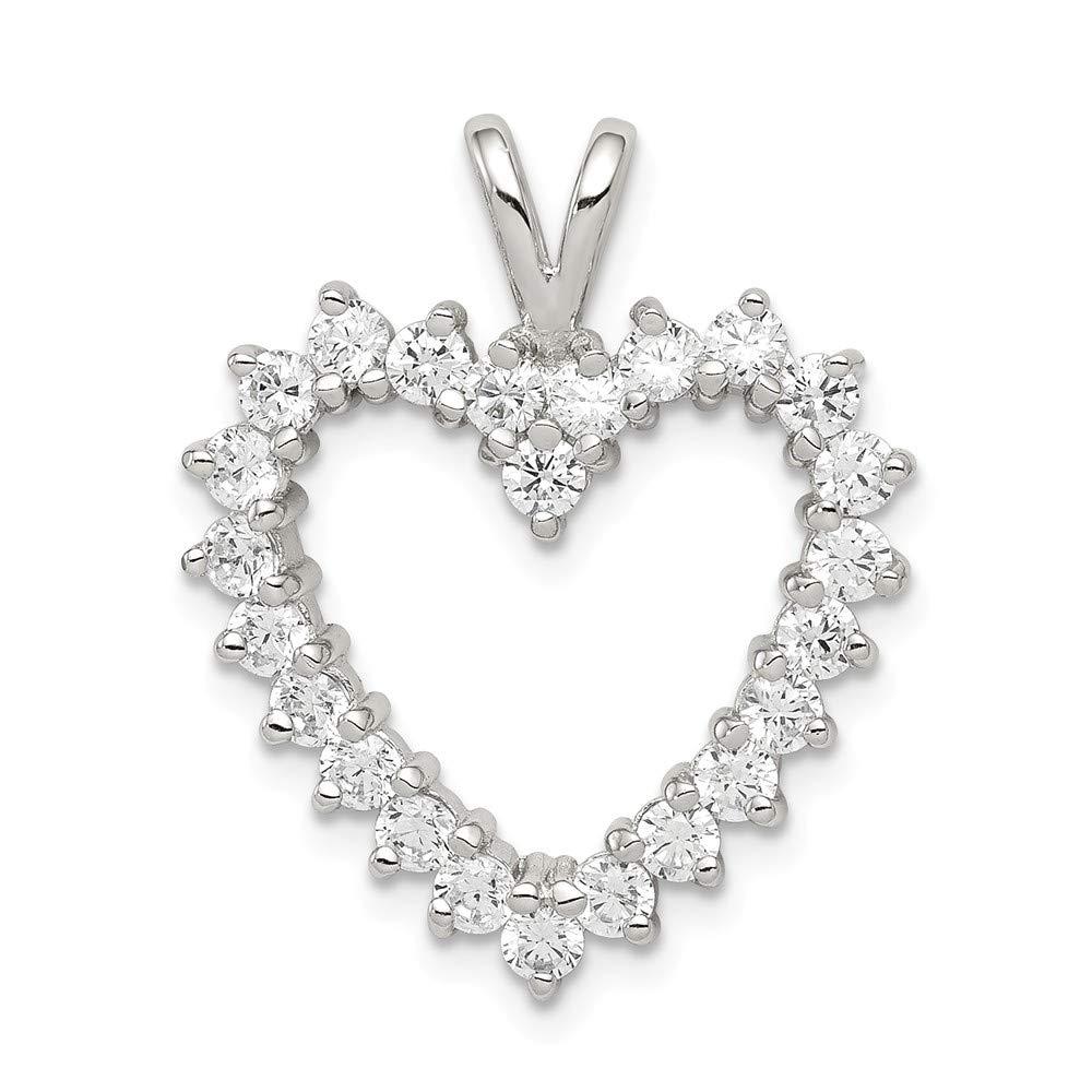 20mm x 25mm Jewel Tie 925 Sterling Silver CZ Cubic Zirconia Heart Pendant