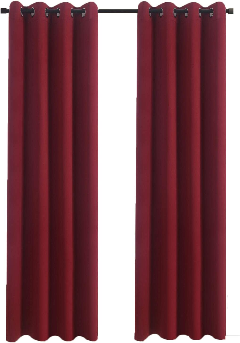 Aquazolax Burgundy Blackout Draperies Curtains for Kitchen Elegant Grommet Thermal Insulated Window Curtains Blackout Drapes, 1 Pair, 54 x 72 Inch, Burgundy Red