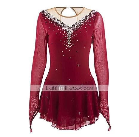 Vestido de patinaje artístico Mujer / Chica Patinaje Sobre Hielo Vestidos Borgoña Alta elasticidad Rendimiento Ropa