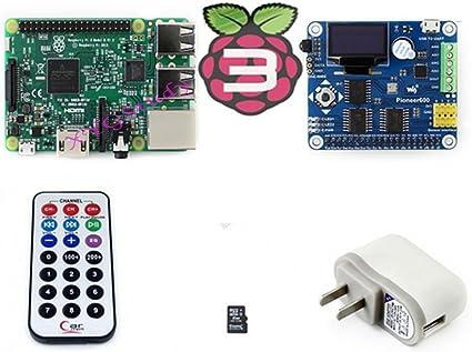 raspberry-pi3-pack (B) nuevo modelo B de Raspberry Pi 3 Madre Junta con Expansion Board pioneer600 + 8 GB tarjeta micro SD + mando a distancia infrarrojos – -complete Starter Kit – -2016 @ Xyg: Amazon.es: Informática