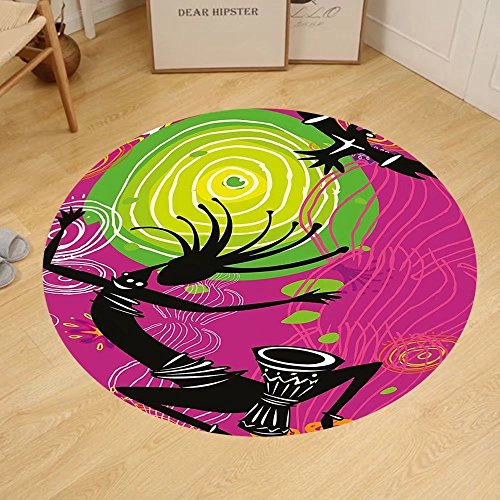 Gzhihine Custom round floor mat Tribal Ethnic African Aztec Dance with Geometrical Borders Triangles Round Swirls Art Bedroom Living Room Dorm Black and White by Gzhihine