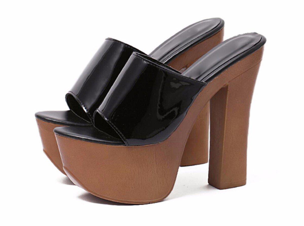 HBDLH Damenschuhe Sommer 14 cm High Rau - Heel Rau High und Wasserdicht Sexy Komfortable Dicke Hintern Fisch Im Mund Wort Coole Schuhe. 4f3af0