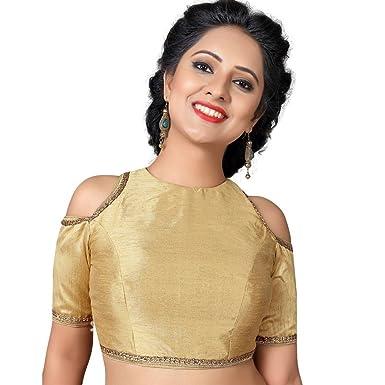 127ef5822933ab Amazon.com  Bollywood Blouses Women s Readymade Back Open Dupion Silk Elbow  Length Saree Blouse Gold  Clothing