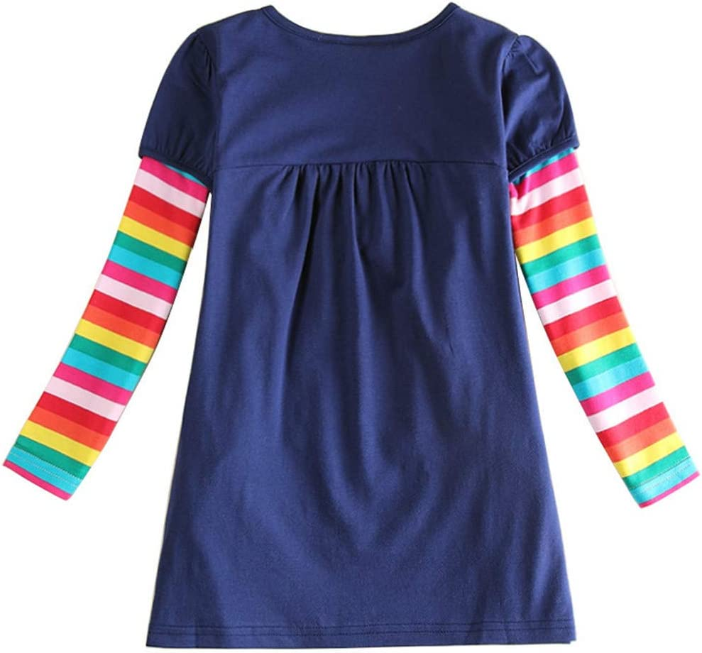 Shan-S Toddler Baby Dress Kids Girls Childrens Long Sleeve Rainbow Striped Animal Printed Dress Casual Blouse Clothes for 3-8 Years Spring Winter