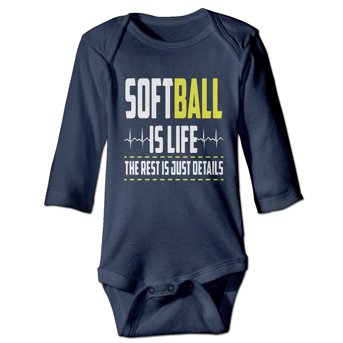 A14UBP Infant Baby Girls Long Sleeve Climb Jumpsuit Softball is Life Unisex Button Playsuit Outfit Clothes
