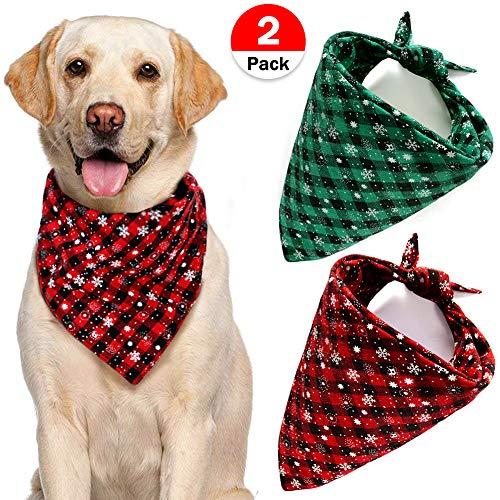 Bandana Snowflakes (2 PCs Dog Bandana Snowflake Pet Bandanas Reversible Triangle Bibs Scarf Accessories Christmas Plaid Bandana for Large Medium Dogs Cats Pets)