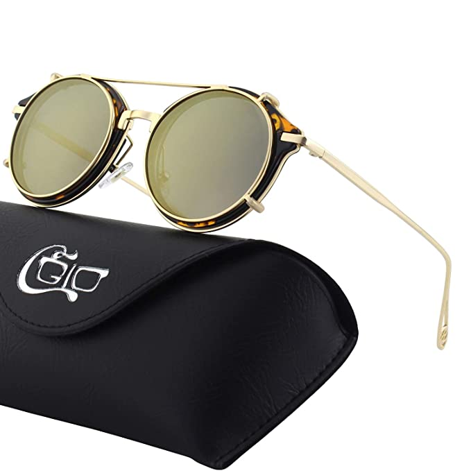 de821fa45e Amazon.com  CGID Clip on Sunglasses Polarized Steampunk Metal Retro ...