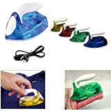 Connectwide® Powerful Mini Travel Iron Light weight Sleek Design Foldable Handle. Power-On Indicator Non Stick Plate.(Blue) with cable 1 pcs