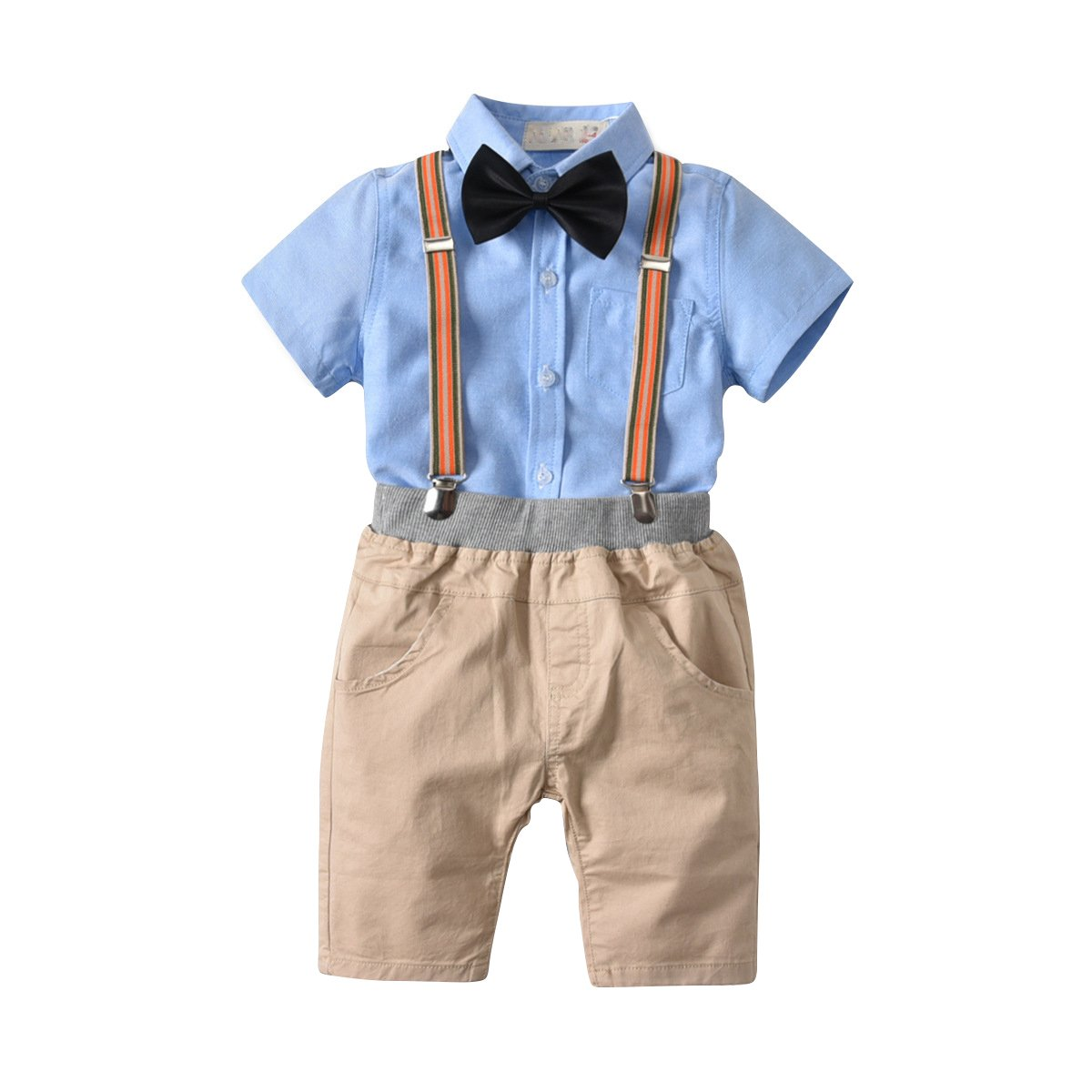 a148f9b41 Baby Boy Gentleman 4 Pcs Set: Blue Short Sleeve Shirt + Khaki Shorts + Bow  Tie + Suspender Visible soft and secure material: Cotton and linen blend  fabric, ...