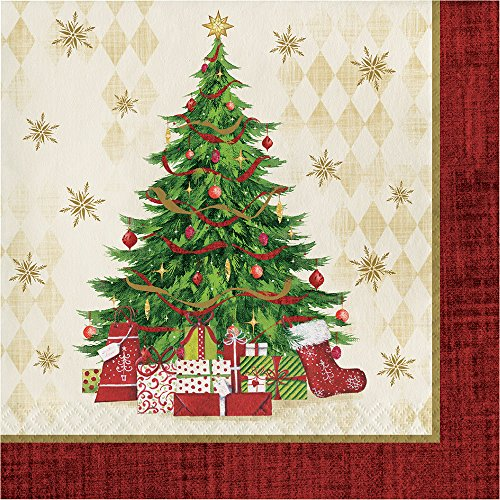 Creative Converting 16-Count Lunch Paper Napkins, Tasteful Tree (Christmas Paper Napkins)