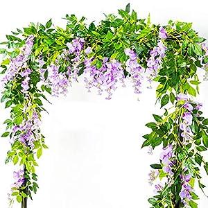 Artificial Flowers 3 Pcs 6.6ft Wisteria Garland Ivy Vine Silk Hanging Plants for Wedding Arrangements Outdoors Decorations Home Garden Party Decor Simulation Flower (Purple) 88