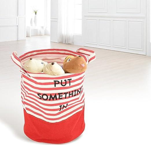Cestino di deposito di vestiti sporchi rotondo in tessuto Cesto Portabiancheria di vestiti rotondo pieghevole per cucina casa Red Strap