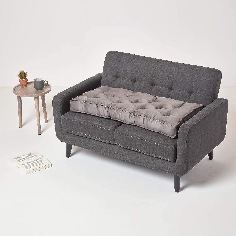 Sitzpolster f/ür Sofas extra Lange Sitzauflage//Bankauflage mit Veloursbezug Homescapes Sitzkissen f/ür 2er Couch braun 100 x 50 x 10 cm mit Tragegriff