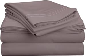 SUPERIOR 800 Thread Count Egyptian Cotton, Deep Pocket, Single Ply, Embroidered Cal King Bed Sheet Set Silver, California
