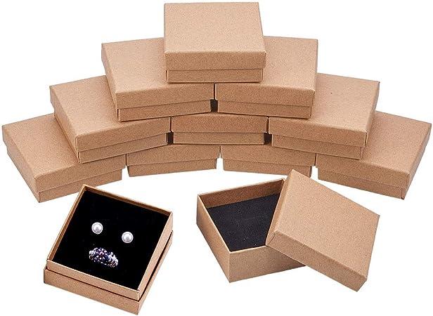 BENECREAT 16 Pack Cajas de Cartón Kraft para Collar 7x7x3cm Pequeña Caja de Regalo Cuadrada de Pulsera y Pendientes Cumpleaños Boda Festival: Amazon.es: Hogar