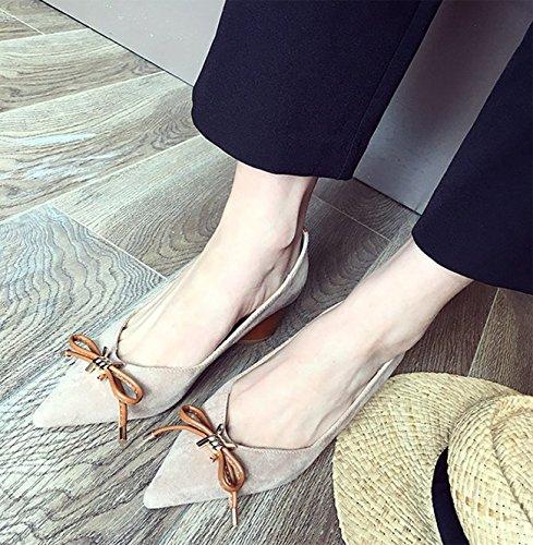 MDRW-Lady Elegant Arbeit Freizeit Feder 6 cm Wildleder Schuhe High-Heeled High-Heeled High-Heeled All-Match Süß Mit Groben Bogen Schuhe Flache Mund EIN Khaki 58435d