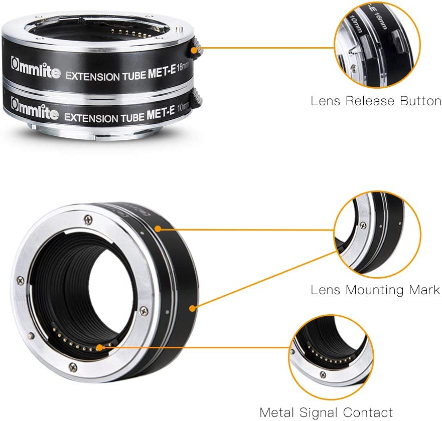 10mm+16mm Commlite cm-MET-FX Auto Focus Extension Tube Set for Fujifilm X-Mount Mirrorless Cameras /& Lens Metal Mount Macro Extension Tube Adapter Rings