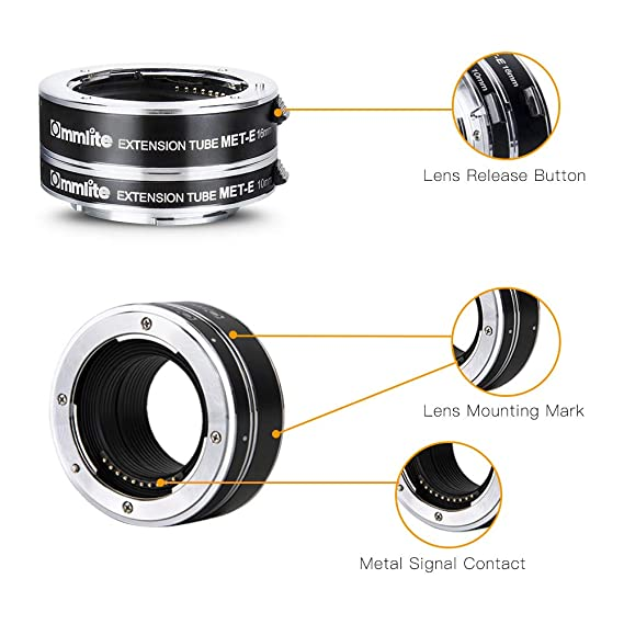 Commlite cm-MET-E Metal AF Auto Focus Macro Extension Tube Ring Set for Sony NEX E-Mount Camera 10mm/&16mm