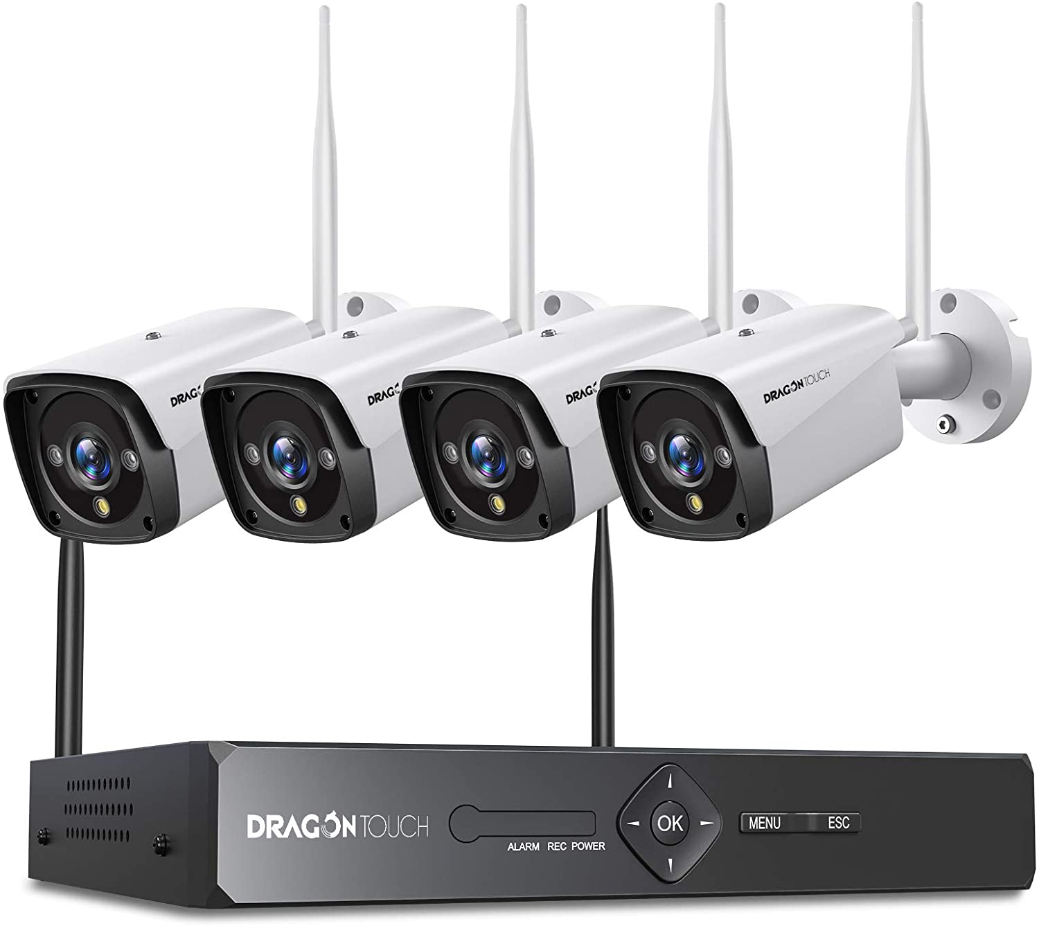 3MP Wireless Security Camera System, Dragon Touch 8CH NVR 4pcs Outdoor Home Security Camera System with Color Night Vision, AI Human Detection, Motion Alert, Remote Access, IP66 Waterproof, No HDD
