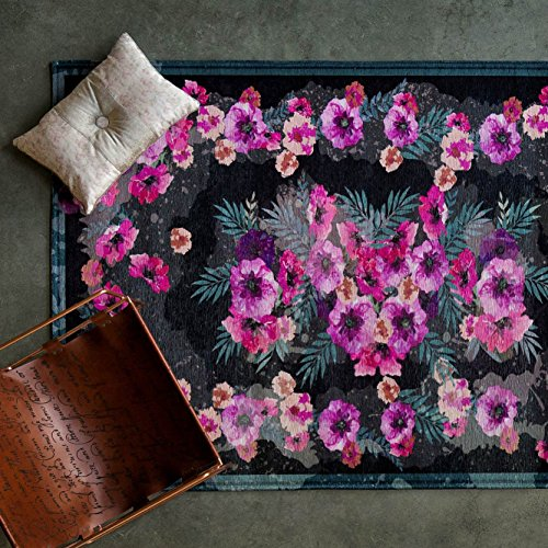 """Maxy Home Valencia Premium 3x10 (2'7"""" x 9'10"""") Shed Free Easy Care Stain Fade Resistant Contemporary Dark Floral Garden Bedroom, Living Room, Kitchen Long Runner Rug"""