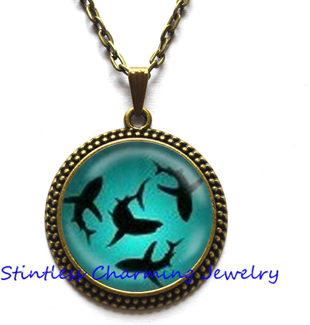 Circling Sharks Pendant Necklace Glass Dome Cover Jewelry Charm Round Circle,Shark jewelry Ocean pendant Ocean gift Sea pendant Birthday gift Ocean necklace
