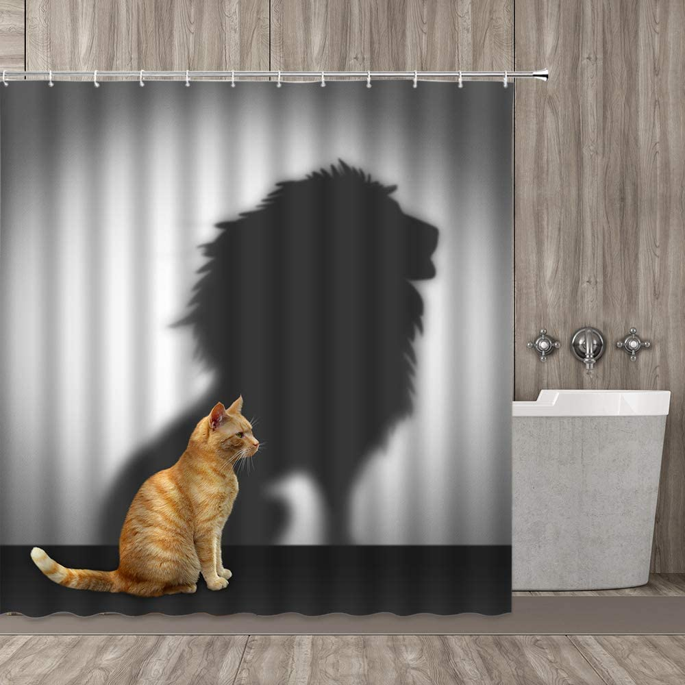 qianliansheji Cat Shower Curtain Lion Shower Curtain Cats Shadow Turned Into Lion Decorative Shower Curtain Creative Personality Animal Theme Shower Curtain Lining Yellow Gray 70X70 with Hook