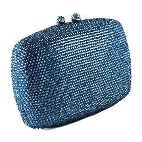 Borsa clutch, Samona azzurra, in raso e strass