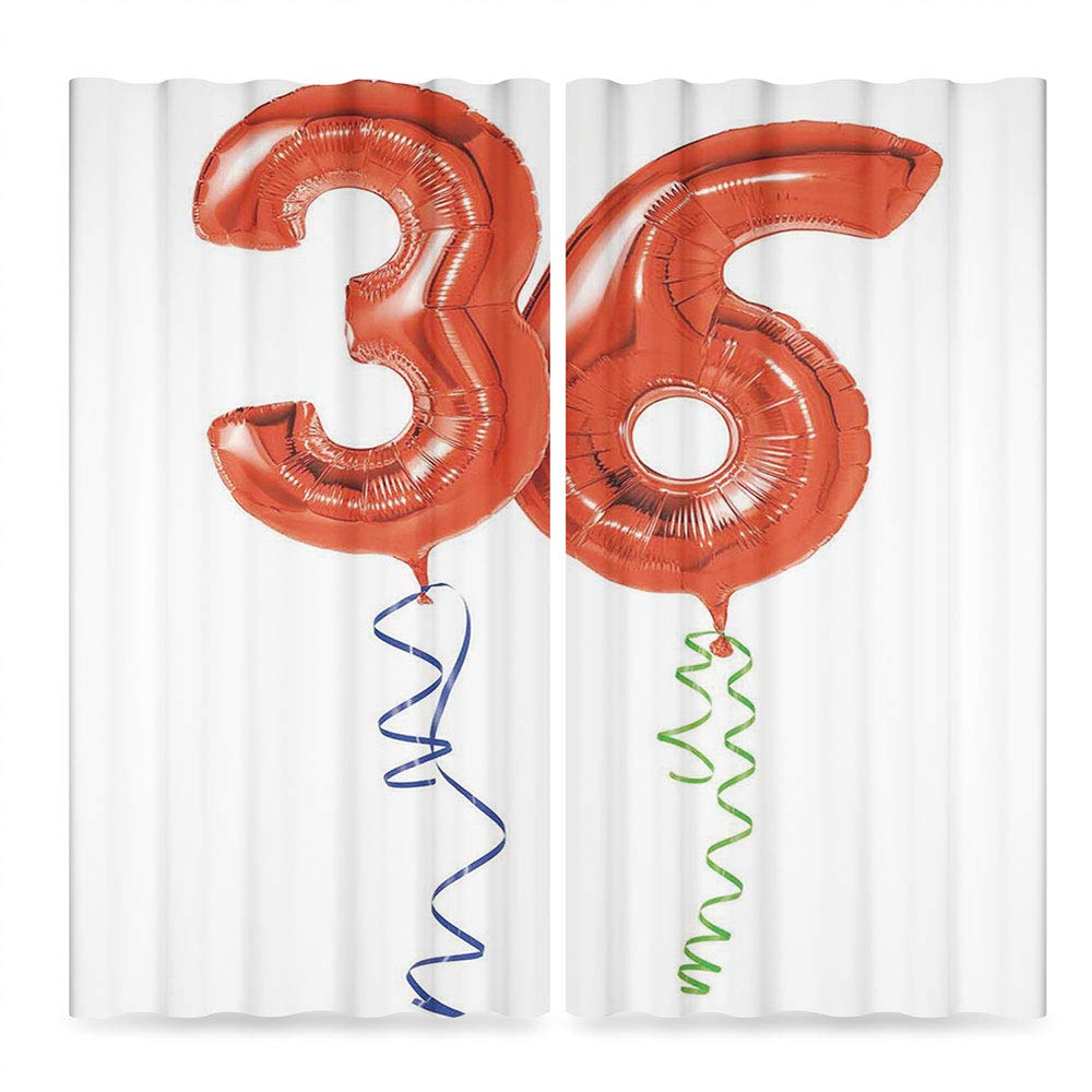 C COABALLA 36th Birthday Decorations Blackout Window Curtain,Fluffy Flying Party Balloons with Colored Curly Ropes,Window Drapes 2 Panel Set for Living Room Bedroom, 2 Panel Set, 28W X 39L Inches