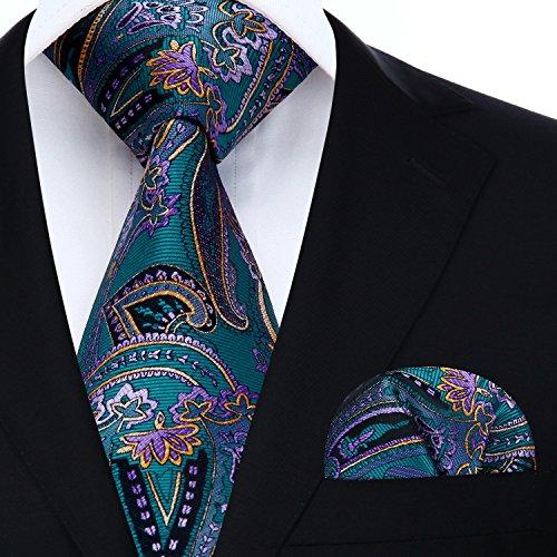 Classic Woven Tie - HISDERN Floral Paisley Wedding Tie Handkerchief Woven Classic Men's Necktie & Pocket Square Set Aqua & Purple & Yellow