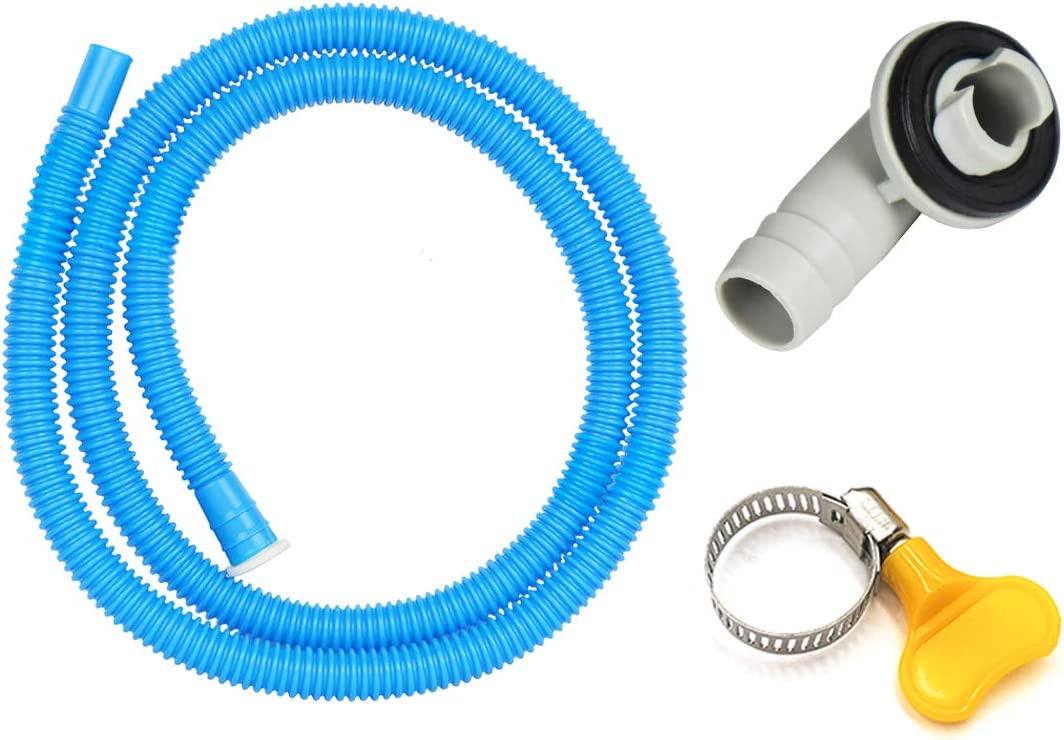 Air Jade 3/5'' Air Conditioner Drain Hose Connector Elbow Fitting with 5.2ft A/C Water Drain Hose Kit, Replacement Parts for Mini-Split Units and Window AC Unit