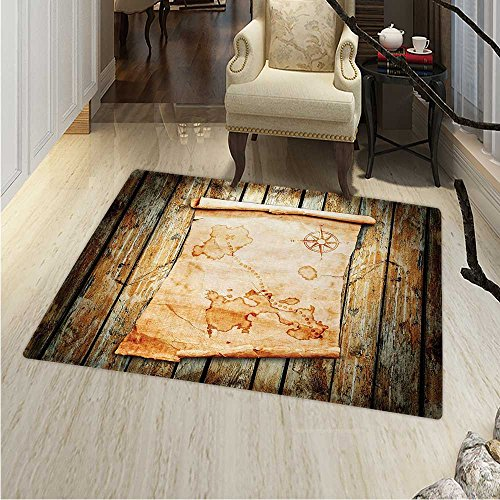 Island Map Rug Kid Carpet Treasure Map on Rustic Timber X Marks The Spot Gold Nautical Pirates Concept Home Decor Foor Carpe 3'x4' Cream -
