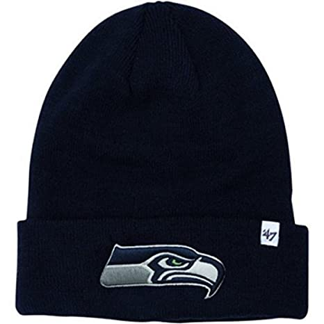 cef79aeb446 Image Unavailable. Image not available for. Color  NFL Officially Licensed Seattle  Seahawks  47 Brand Navy Cuffed Embroidered Beanie Hat ...