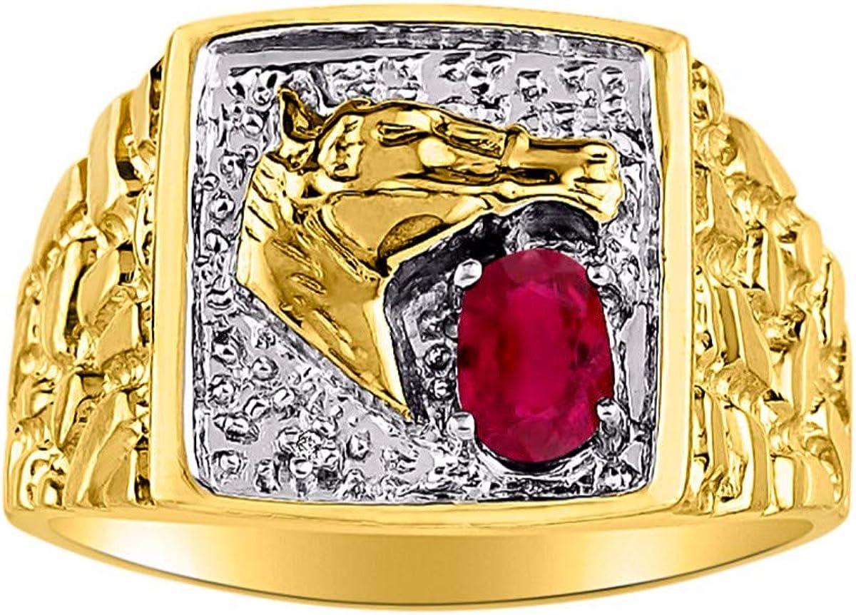 RYLOS - Anillo para caballero con gema preciosa y diamantes brillantes auténticos en oro amarillo de 14 K - 6 x 4 mm esmeralda, rubí, zafiro color piedra