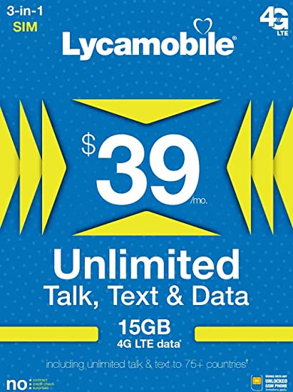 Amazon.com: USA Prepaid SIM Card LYCA $39 Plan 15GB Datos en ...