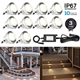 10-Pack Recessed Deck Light Kit, Stainless Steel, 3000K Warm White, Wet Location Available, for Corner, Ceiling, Room, Pathway, Driveway, Garden