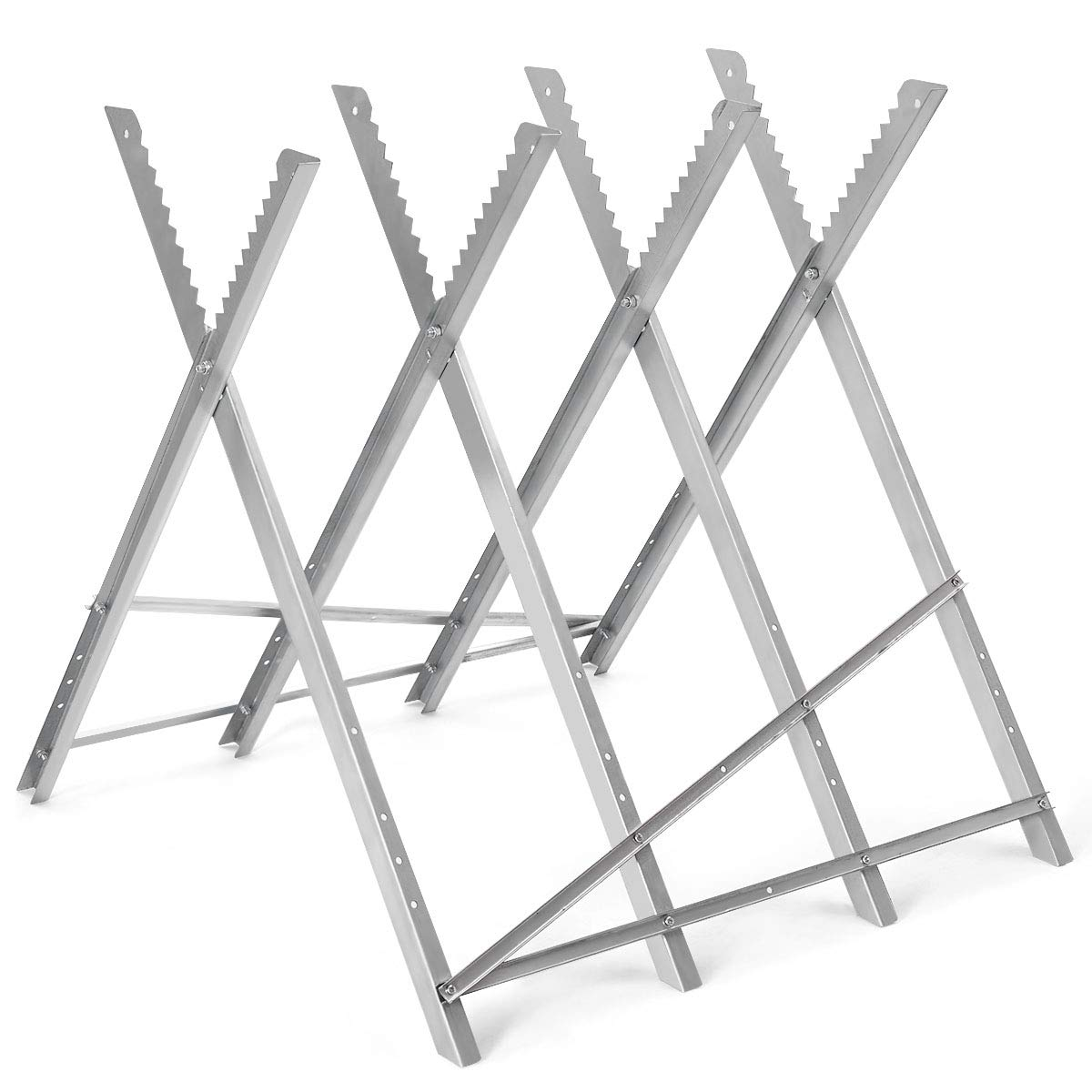 Goplus Portable Sawhorse Heavy Duty Adjustable Steel Work Support Foldable Sawhorse Stand 220 lbs Weight Capacity
