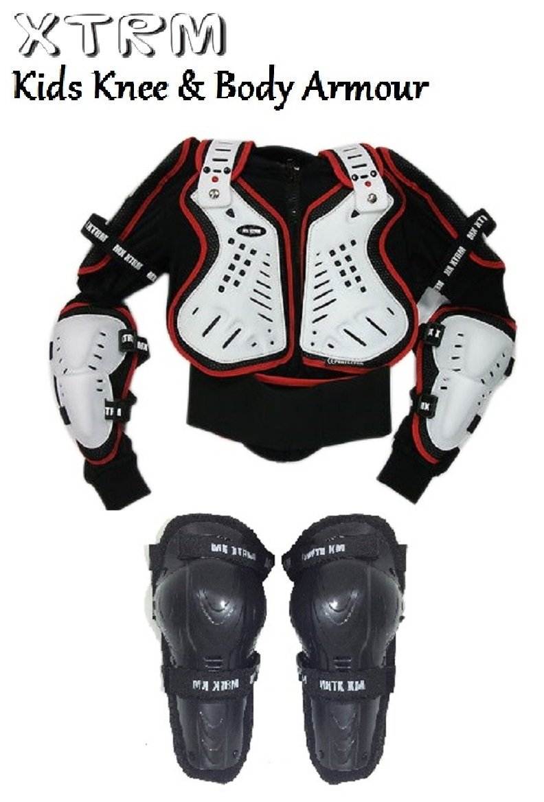 Armour Jacket WHITE//RED XTRM HINGED KNEE CE APPROVED KIDS XTRM MX BODY ARMOUR Motorbike Motocross Quad Sports